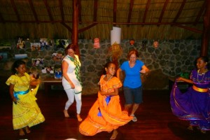 Traditional dancing with local children at Jicaro Island Ecolodge