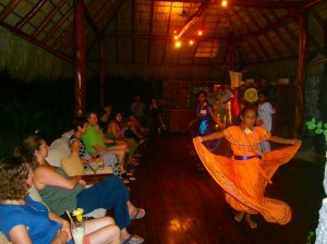Guests watching the cultural performance at Jicaro near Granada, Nicaragua.