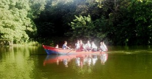 A group of kids going to school by boat on Lake Nicaragua