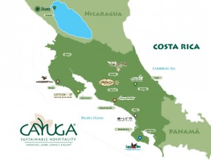 Map of hotels in Costa Rica and Nicaragua