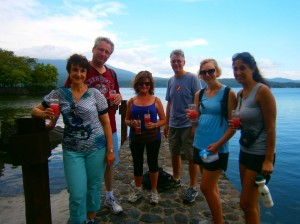 Guests enjoying a cold drink after their trek.