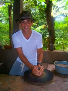 Forming pottery on a wheel in Nicaragua